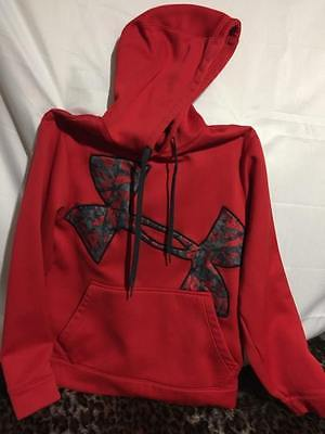 Boys Red Under Armour Loose Hooded Sweatshirt Size Small
