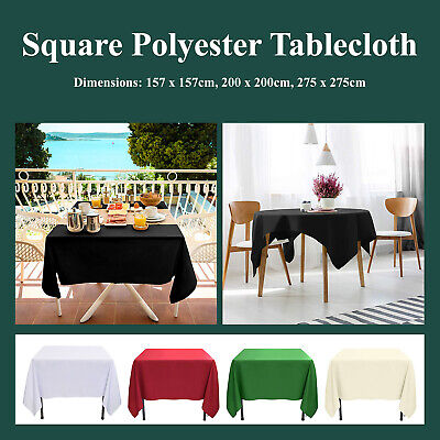 Square Polyester Tablecloth 200GSM Table Cover Cloth Economy Home Décor Party