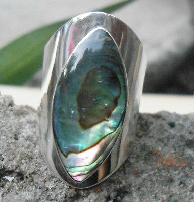 925 Sterling Silver Balinese carved Ring With Marquise Paua Shell Size 7