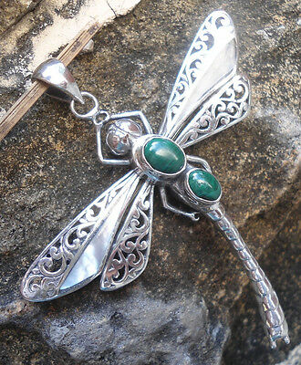 925 Sterling Silver-LH29-Balinese Dragonfly Brooch/Pendant Shell & Malachite