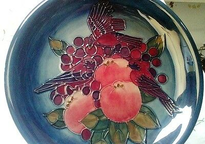 "MOORCROFT  ""Finches and Fruit""  Charger/Plate  26cm"