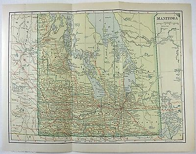 Original 1914 Map of Manitoba by L. L Poates