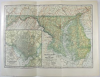 Original 1914 Map of Maryland & Delaware by L. L Poates