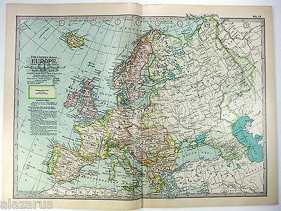 Original 1902 Map of Europe - A Nicely Detailed Color Lithograph