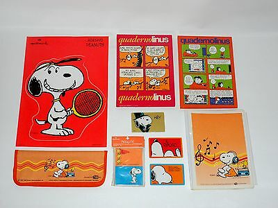 Snoopy Peanuts Maxi Lotto Orange Pencil Case Astuccio Quaderno Vintage Anni 80