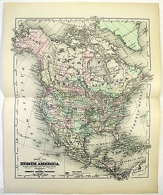 Original 1895 Copper-Plate Map of North America by A. J. Johnson