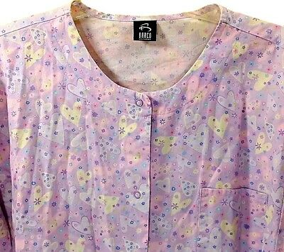 Womens Barco Purple Hearts Medical Scrub Top Shirt Size: XL