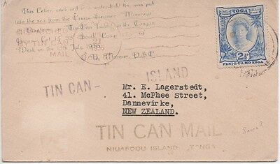 Tonga - 1936 TIN CAN MAIL letter to New Zealand