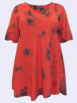 ded31b76635 NEW Eaonplus RED TIE DYE TunicTop with Embroidered Trim   Curved Hem UK 18    20