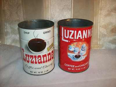 2 Vintage Luzianne Coffee and Chicory 1 LB. Tin Cans New Orleans NO Lids