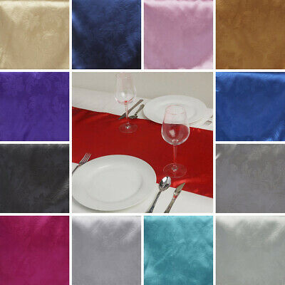 Lily Embossed Satin Table Runner Dinner Party Table Supply Catering Linens SALE