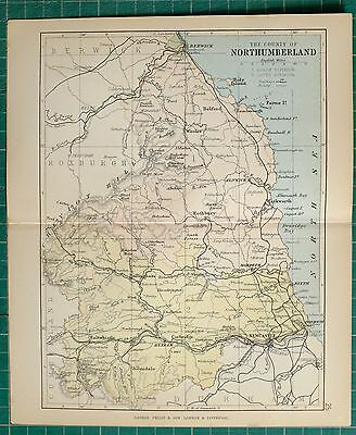 1882 Small Antique County Map ~ Northumberland Berwick Alnwick Holy Island