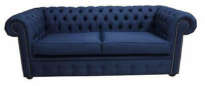 Chesterfield 3 Seater Charles Linen Midnight Blue Fabric Sofa Settee 2 Cushions