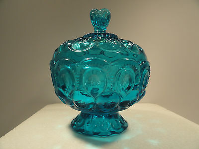 L. E. Smith Blue Moon & Stars Covered Compote / Candy Dish