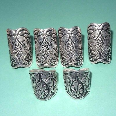 Wholesale Lot !! 6 Pcs 925 Sterling Silver Plated Vintage Handmade  Ring 45 Gms