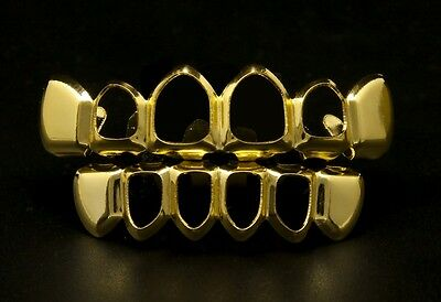 Gold Grillz 24K Yellow Gold Filled Gold Teeth Mouth Open Tooth Iced Out Jewelry