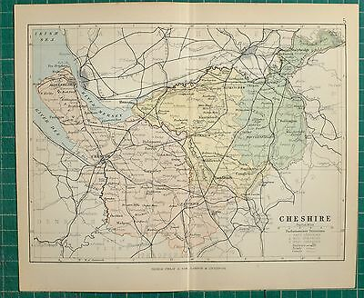 1882 Small Antique County Map Cheshire Northwich Macclesfield Chester Stockport