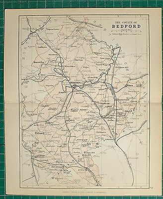 1882 Small Antique County Map ~ Bedford Biggleswade Woburn Ampthill