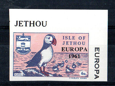 ISLE OF JETHOU 1961 EUROPA IMPERFORATE 6d STAMP FROM MINIATURE SHEET MNH