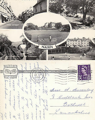 1965 MULTI VIEWS OF NAIRN NAIRNSHIRE SCOTLAND REAL PHOTOGRAPH POSTCARD (a)