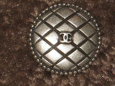 Chanel Auth. 1 Cc Logo Front Silver  Quilt Button  14 Mm  New