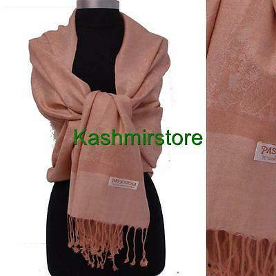 New Pashmina Paisley Floral Silk Wool Scarf Wrap Shawl Soft Classic Beige #e305y