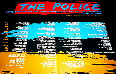 """THE POLICE - SYNCHRONICITY 1983-84, LARGE 2 PIECE (21.5"""" x 13.5"""") ADVERT/AD 1987"""