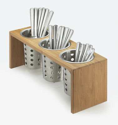 Cal-Mil 3 Compartment Utensil/Condiment Stand Bamboo