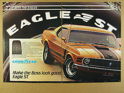 1983 Goodyear Eagle Tires ford Mustang Boss 302 car photo vintage print Ad