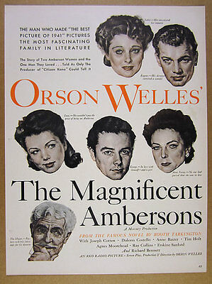 1942 Orson Welles The Magnificent Ambersons movie promo vintage print Ad
