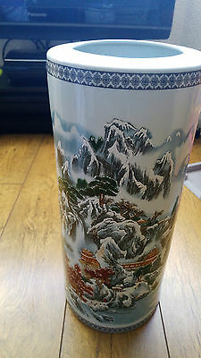 large antique japanese/ chinese umbrella stand hand painted