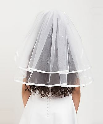 Holy Communion Veil with Scattered Diamante & Satin Binding