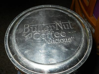 Vintage Butter Nut Coffee Can Metal Tin Cantainer