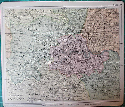 Environs of London 1905 Colour Map Home Counties
