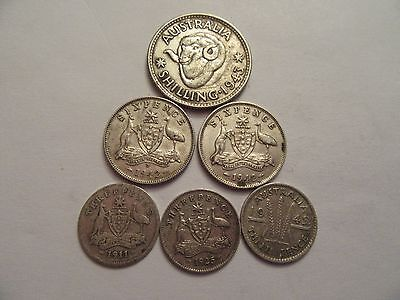 Lot of 6  Australia Silver Coins, mixed dates & denominations