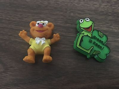 "Vintage 1980 Kermit the Frog Pin & 1896 Baby Fozzie Bear 2"" PVC Toy Figure"