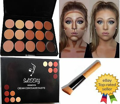 15 Colors Contour Face Cream Concealer Make up Palette with Wooden Brush CL2