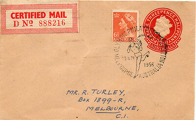 1956 Olympic Games handstamp  with certified mail label