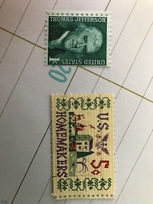 Us Thomas Jefferson Stamp And Us Homemakers Five Cent Stamp 1960S