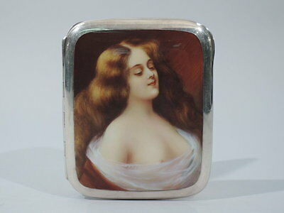 Antique Cigarette Case  Alluring Lorelei  European 935 Silver & Enamel