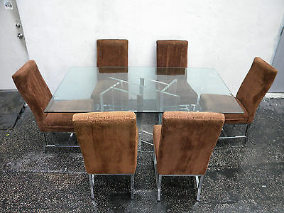 Mid Century MCM Lucite and Glass Top Dining Table and 6 Chrome Chairs 5599