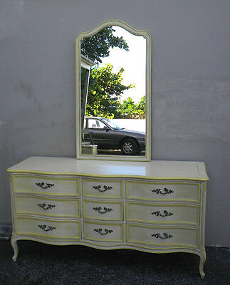 Henredon French Painted Cherry Dresser with a Mirror 1473