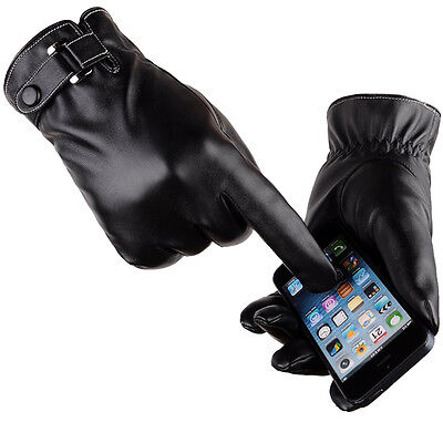 Men Winter Autumn Leather Motorcycle Full Finger Touch Screen Warm Gloves Black