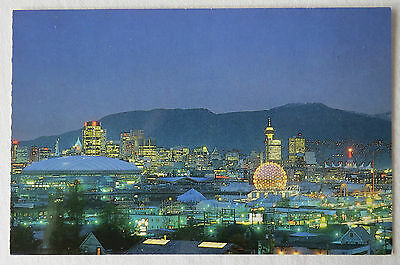 Postcard Canada. Vancouver Skyline At Night. British Columbia. Unposted