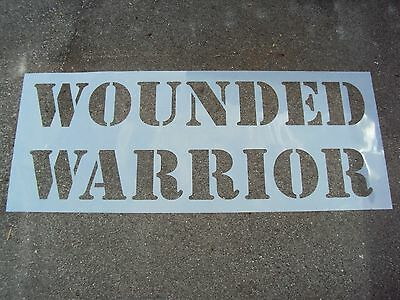"""WOUNDED WARRIOR Parking Lot Stencil 12"""" Letters 1/16"""" LDPE Material"""
