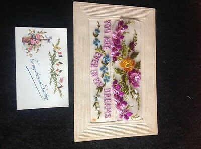 WW1 VINTAGE SILK POSTCARD with insert card- message : You are ever in my dreams