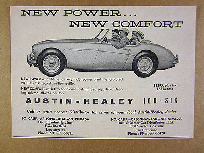 1957 Austin-Healey 100-6 Six roadster car photo vintage print Ad