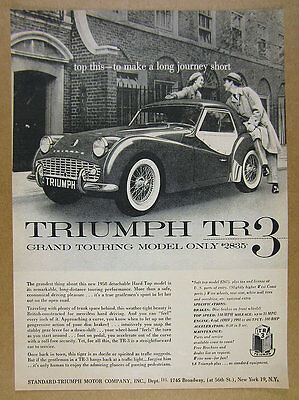 1958 Triumph TR-3 TR3 with Detachable Hardtop photo vintage print Ad