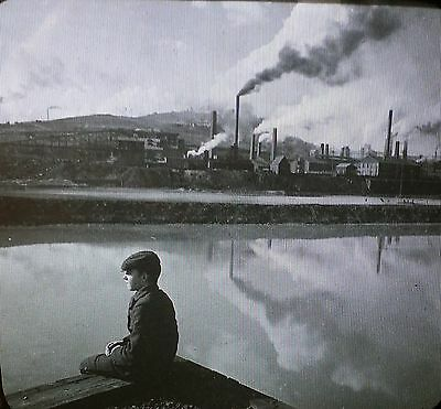 Copper Smelters and Mine, Butte, Montana, Antique Glass Magic Lantern Slide
