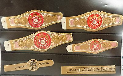 """6 Different Old and Original Cuban Cigar Bands """" PUNCH (#4)"""" ,Set 013"""